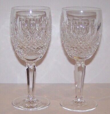"""Pair Of Signed Waterford Crystal Colleen Tall Stem Claret Wine 6 1/2"""" Glasses"""