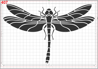 Big DragonFly no2 Stencil MYLAR A4 sheet strong resuable ART CRAFT WALL DECO