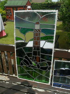 Leaded Stain Glass Lighthouse and Seagulls.