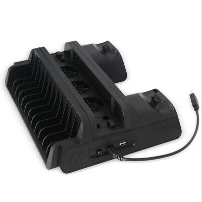 Multifunction PS4/Slim/PRO Vertical Stand with Cooling Fan Cooler Dual Cont D6F5
