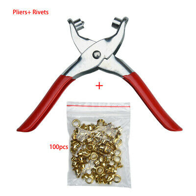 Rivet Tools Eyelet Pliers Hand Tool Lock Catch 6 Inch 100 Punching Leather Belt