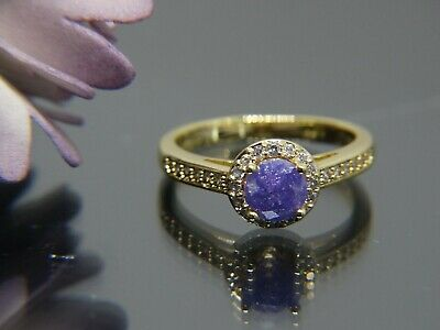 Vintage Gold Ring purple ice Peridot Antique Art Deco style Jewelry size 8