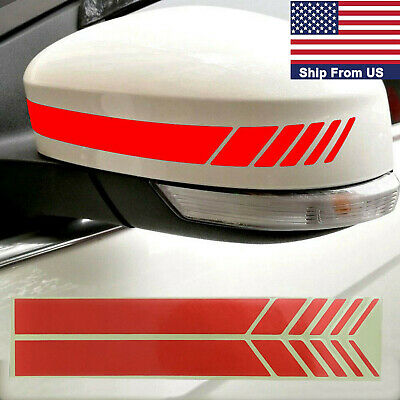 2x Red Rear View Mirror Decal Reflective Sticker Eyelid Side Door Handle Stripes