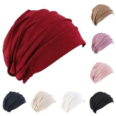 Women Indian Stretchy Pleated Cotton Chemo Turban Hat Head Wrap Hijab Caps