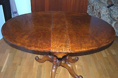 Antique Burr Walnut Pedestal Sutherland Table; 126x94x70cm; Beautiful Patina