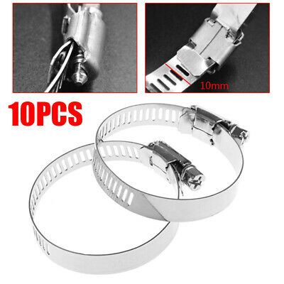 """10Pcs Adjustable Stainless Steel Drive Hose Clamp Fuel Line Worm Clip 1-3/8""""~ 2"""""""