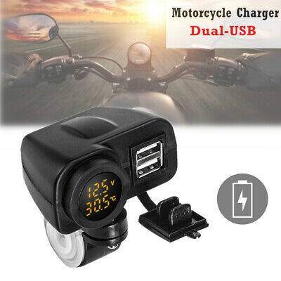 Phone Charger Motorcycle Handlebar Mount Dual USB Charger Socket w/ON/OFF Switch