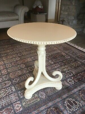 Solid Mahogany circular occasional table on a tripod base painted in F&B Cream