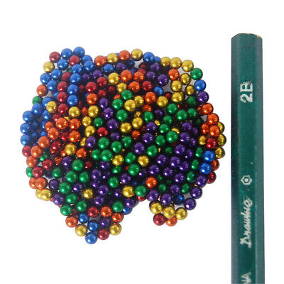 "400 STRONG MAGNETS 3mm (1/8"") Neodymium Spheres Rainbow Colour Balls - Free Post"
