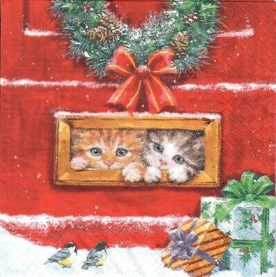 snow  -X107 kitties Xmas cat Christmas 4 Single paper decoupage napkins