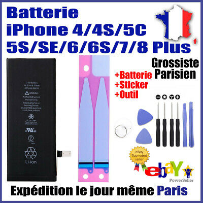 Batterie Interne Apple Iphone 4/4S/5C/5S/Se/6/6S/7/8 Plus+Sticker+Outil-Grade Aa