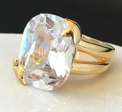 Large Cubic Zirconia Ring Gold Setting Engagement Wedding Signed GR NEW 1b