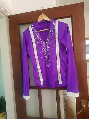 Mens Dance Costume Long Sleeve Shirt Top Jazz Tap Ice Skating Roller Skating