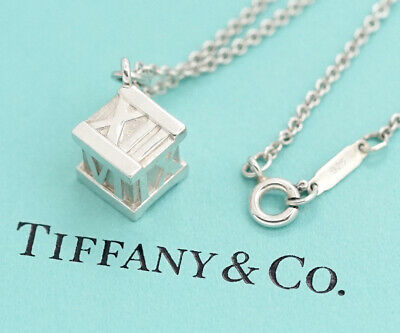 """TIFFANY&Co Atlas Cube Pendant Necklace 17"""" Sterling Silver 925 n36991"""