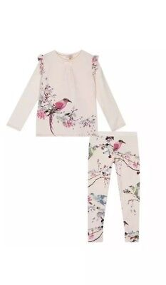 Ted Baker Girls Pink Flight Of The Orient Print  Pyjama Set Age 7-8 Free P&p