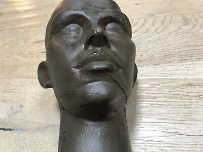 Vintage To Antique Sand Cast Wrought Iron Man Bust Estate Find Rare And Unusual