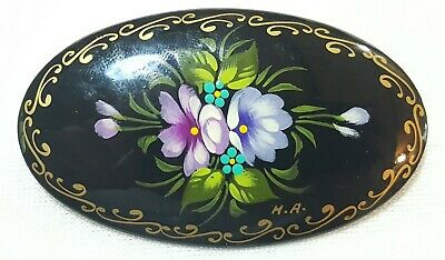 Whitby jet vintage Victorian antique hand painted brooch