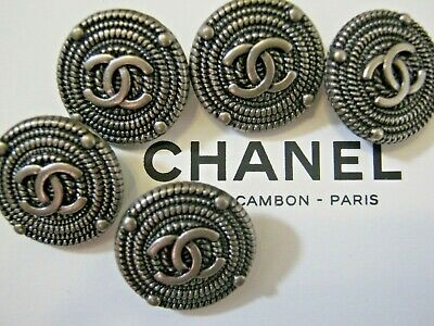 CHANEL  5 AUTHENTIC DARK  SILVER cc 18 MM BUTTONS THIS IS FOR 5