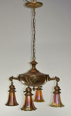 1920's Brass Four Arm Chandelier with Art Glass Shades