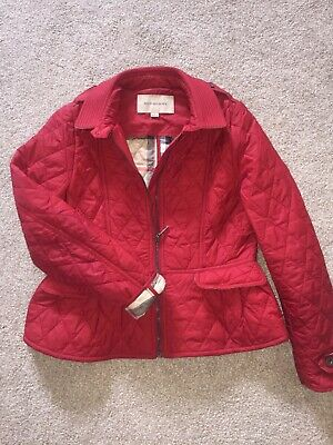 Girls Red Quiltled Burberry Jacket, Age 12