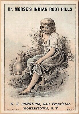 Victorian Trade Card-Dr Morse's Indian Root Pills-Morristown, NY-Soaking Foot