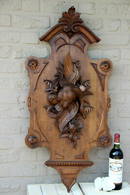 "HUGE 38.5"" Antique SWISS BLACK forest Wood carved wall panel hunt trophy rare"