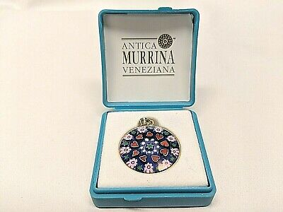 ANTICA MURRINA VENEZIANA Italy Art Glass Pendant 24K Gold Plate over  Sterling