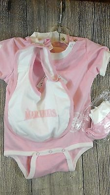 Genuine Merchandise Pink Seattle Mariners Girls One piece Outfit 3PC Set 6-9 Mo