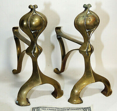 Antique early 1900s Art Nouveau Small Brass ANDIRONS Fireplace Surround Hardware