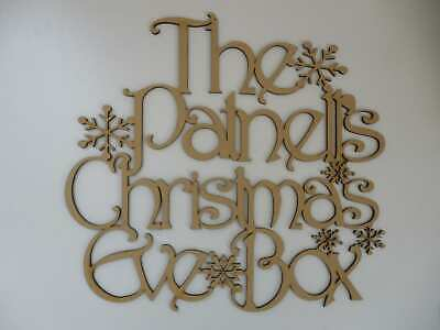 MDF Wooden Personalised Christmas Eve snowflake Box Topper Craft wall door  P20