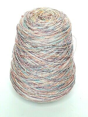 Pink Blue Multi Colored 1.12lbs Cone Yarn Knitting Machine Vintage