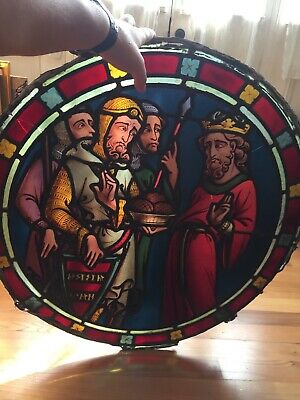 VINTAGE ROUND WINDOW STAINED GLASS LEADED - Four Cracks in Glass