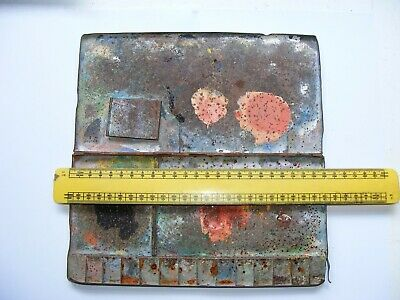 Vintage Folding Metal Watercolour Palette With Interesting Patina And Distressin