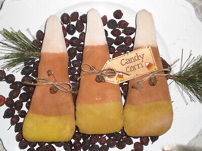 3 Primitive Farmhouse Halloween Candy Corn Bowl Fillers Ornaments Ornies Tucks