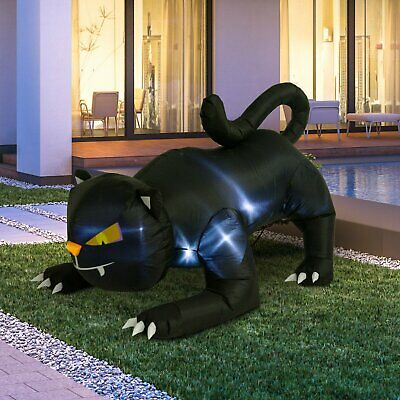 6' Crouching Black Cat, Lighted Airblown Inflatable Halloween Lawn Decor