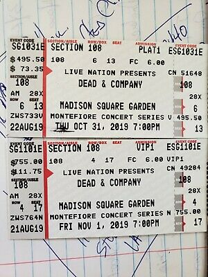 Dead and Co. tickets msg.  October 31(plat) row 4 and Nov 1 row 6(VIP).