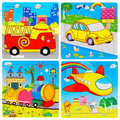 Animals Vehicles Wooden 9 Pieces Jigsaw Puzzle Toy for Preschool Toddler Kids