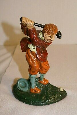 Vtg   Cast Iron Golfer Door Stop / Book End  No Box  Red Jacket  Repro