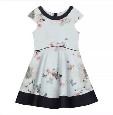 Ted Baker Girls ( Mint ) Pale Green Floral Print Dress Age 6 Years Free Postage