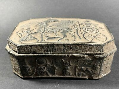 Ancient Egyptian Stone Box Ramesses Ii In Battle, Hieroglyphs & Sphinx C. 1200Bc