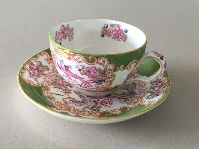 Antique Minton Green Cockatrice Cup & Saucer