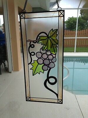 Grapes Stained Glass Panel Suncatcher
