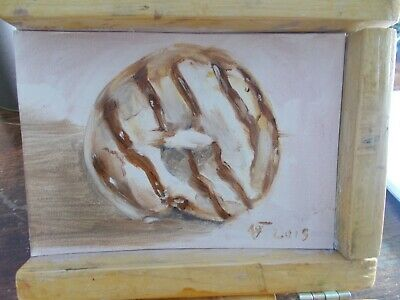 Original Daily oil Painting still life white glazed donut with chocolate stripes