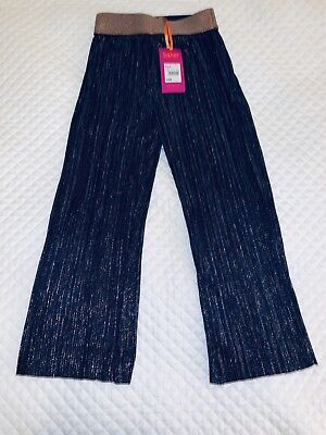 Ted Baker Girls Navy And Gold Plisse Trousers Age 6 Bnwt Free Postage