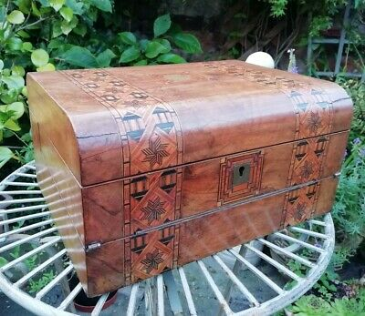 Antique Victorian Tunbridge Writing Slope Sewing Box Tri Folding Walnut Dome Top