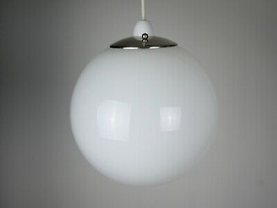 Vintage Mid Century Retro Opaline Glass Lamp Shade Ceiling Light Chrome Pendant