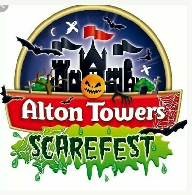 Alton Towers SCAREFEST HALLOWEEN x 2 Tickets Sunday 6 October 06/10/2019'
