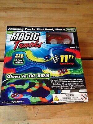 Magic Tracks 220 Piece Glowing Track Set Fast Red Car 11FT Speedway Glow Bend