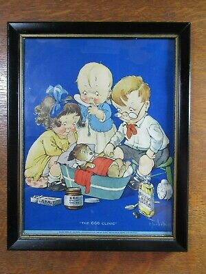 """Vintage Large Color 1930's ADVERTISING~""""The 666 CLINIC""""  Liquid, Tablets & Salve"""