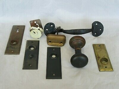 Antique Door & Lock Hardware Lot, Cast Iron Handle, Knob, Plates, Lock